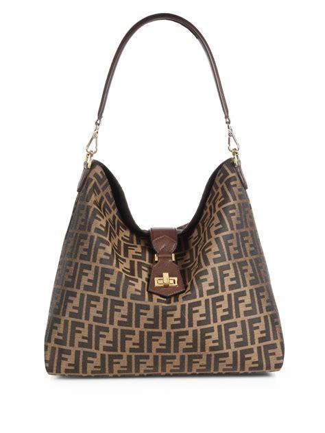 B Fendi Zucca Hobo Bag by Fendi Zucca Small Hobo Bag In Brown Lyst