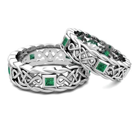 his hers wedding band in platinum celtic emerald wedding ring
