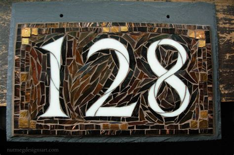 mosaic house number designs wordless wednesday mosaic house number on slate in copper and brown for a craftsman