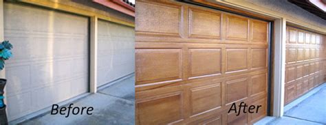 Faux Paint Wood Grain Garage Door Garage Doors Facelift With A Wood Grain Faux Finish Traditional San Diego By Marcelino