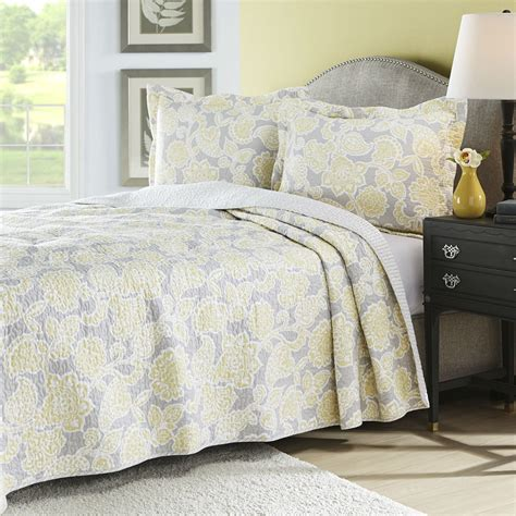 king yellow gray floral  cotton reversible quilt