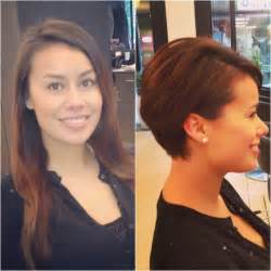 before and after hair styles of faces before and after from long hair to pixie haircut hair