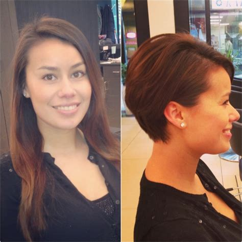 trim haircut before and after before and after from long hair to pixie haircut hair