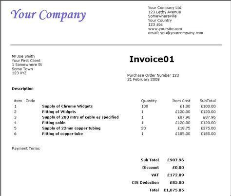 cis invoice template invoice maker