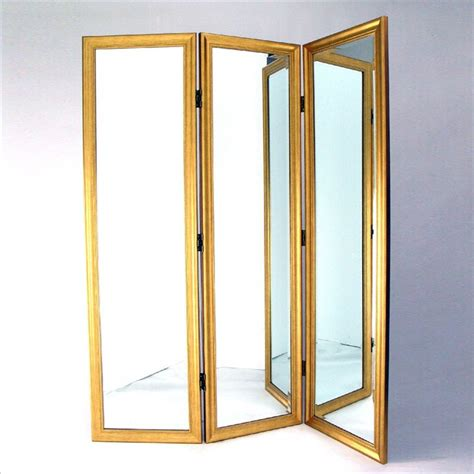 Fitting Room Partitions by Mirror With Frame Size Dressing Room Divider In Gold