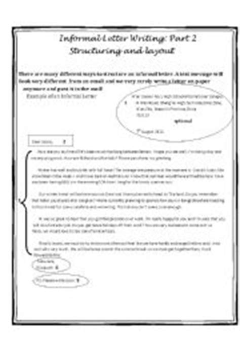 layout of a letter informal english worksheets writing an informal letter part two