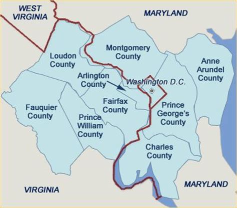 Prince William County Records Map Of The Counties Surrounding Fairfax County Arlington County Loudon County