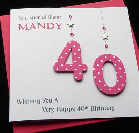 Handmade 40th Birthday Card - handmade personalised birthday card 30th 40th 50th 60th 70th