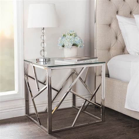 decorating idea flank table modern contemporary tempered clear glass end table side table