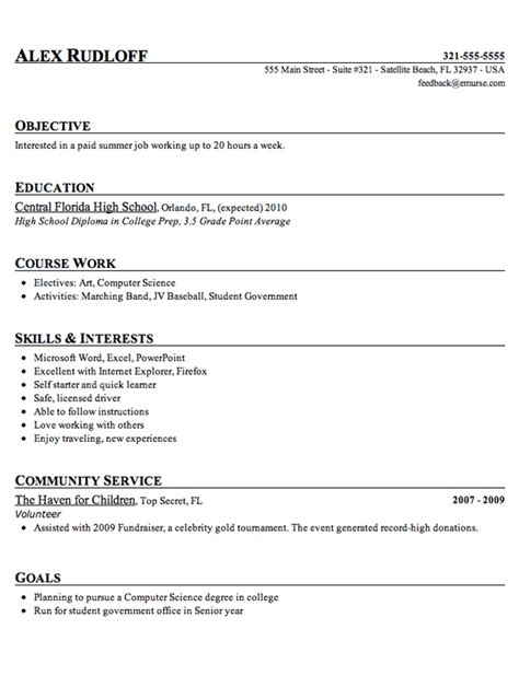 doc 12751650 job resume example for highschool students