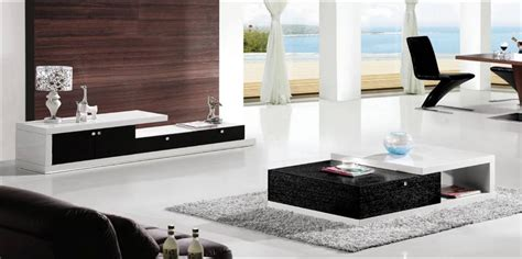 living room sets with tv modern design balck white wood furniture tea coffee