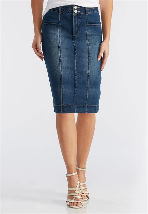 seamed denim pencil skirt plus skirts cato fashions