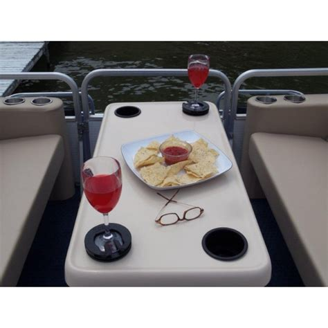 large rectangle shape pontoon boat table