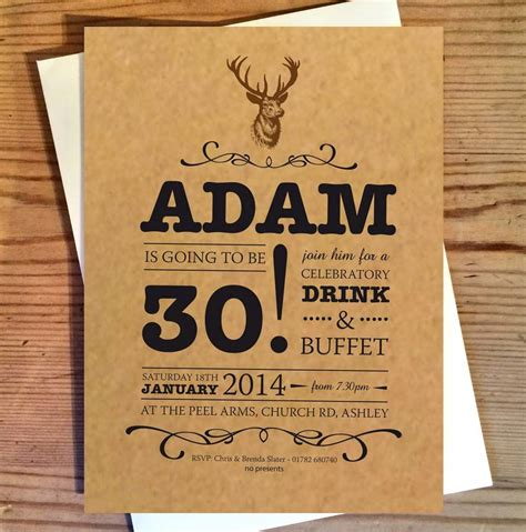 Stag Birthday Invitations By The Wild Partridge Notonthehighstreet Com Free Deere Invitation Template