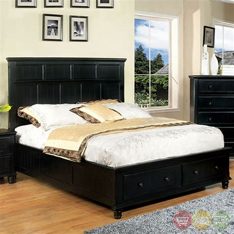 bedroom sets with storage drawers willow creek cottage black storage bedroom set with 2