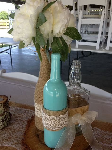 Tiffany Blue wine bottle decorations with twine and lace