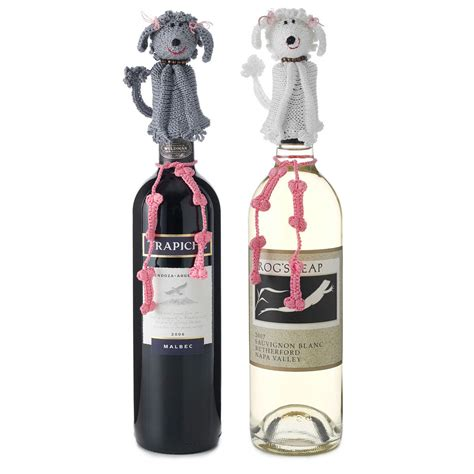dog wine bottle toppers poodle dogs knit wines