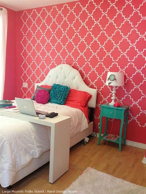 stencils for rooms stencil decorating ideas in the pink allover lace and floral stencils pink room room ideas
