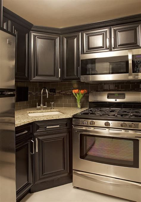 small kitchen black cabinets my next kitchen dark grey cabinets with dark backsplash stainless appliances and granite