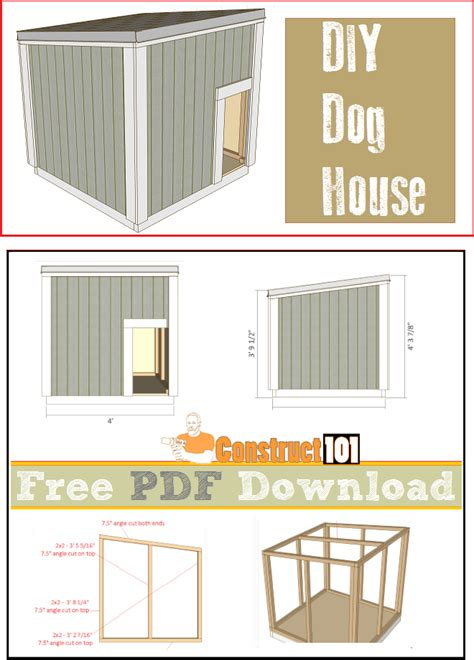 dog house plans large dog house plans pdf download construct101