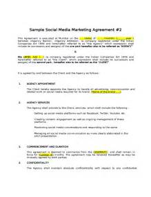 marketing services contract template sle social media marketing agreement free