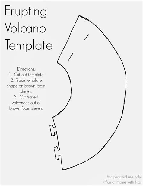 volcano outline template erupting volcano dinosaur or favor free