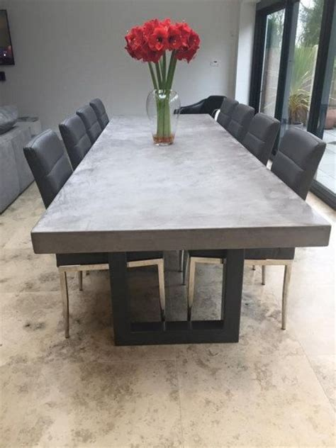 concrete dining room table polished chunky concrete dining table with industrial by