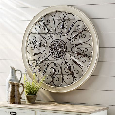 white wrought iron wall decor rustic scroll antique