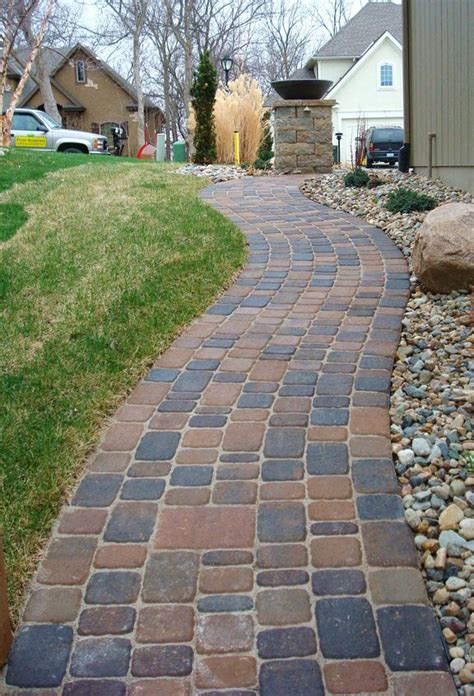 front yard pavers paver walkway next to rock garden front yard