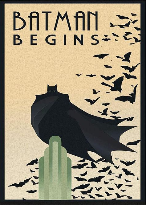 printable batman poster batman begins retro art deco movie film poster print
