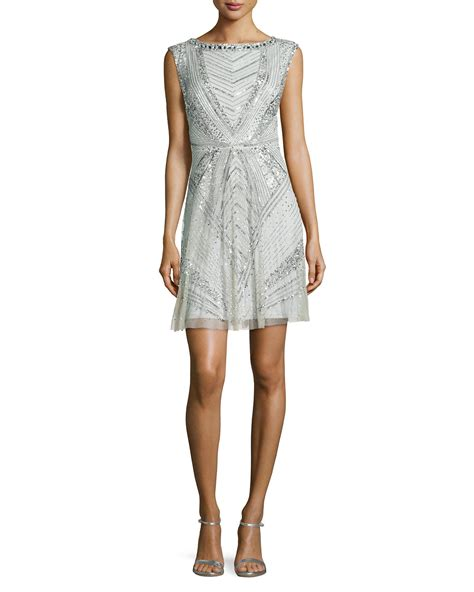 beaded deco dress aidan mattox sleeveless beaded deco cocktail dress in