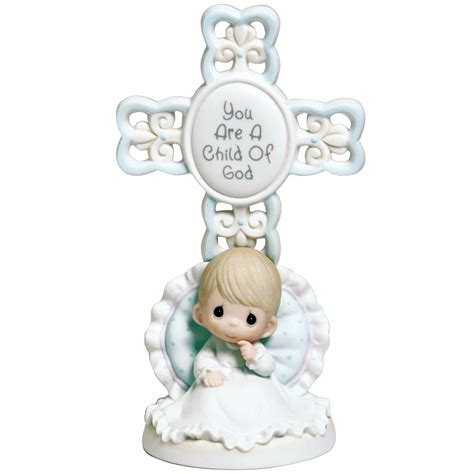 Baptism Gifts, ?You Are A Child Of ***?, Bisque Porcelain Cross, Boy, #4004680   Precious Moments