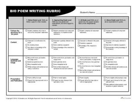 biography poem generator bio poem rubric for teachers