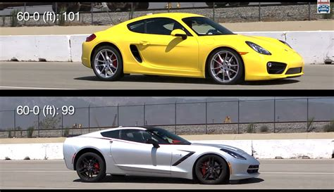 porsche cayman s versus c7 corvette stingray brake dive