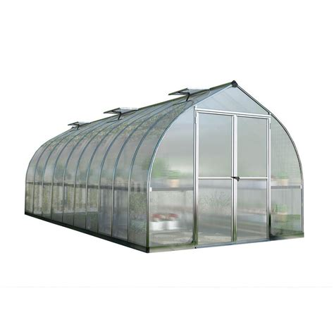 green houses home depot palram bella 8 ft x 20 ft silver polycarbonate greenhouse 703732 the home depot