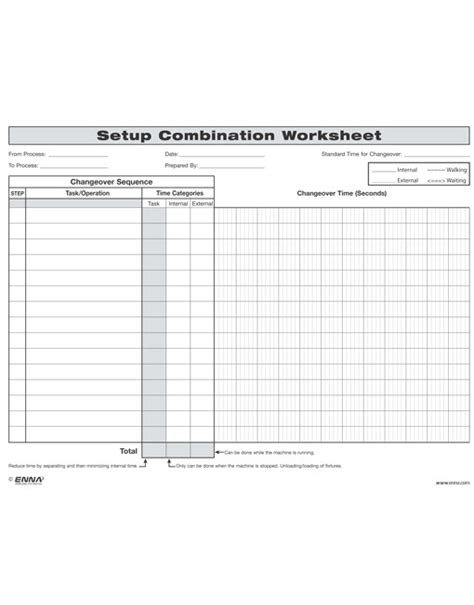 smed template smed changeover setup combination worksheet