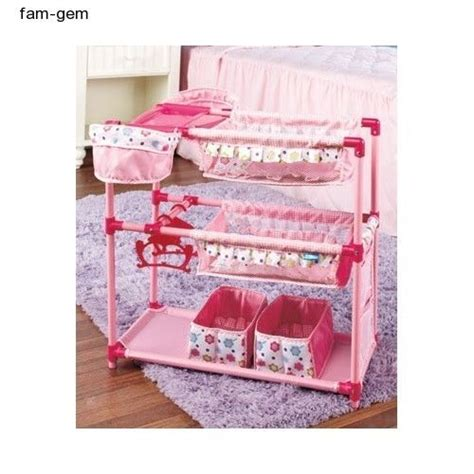 Doll Cribs And Beds Doll Nursery Crib Bunk Bed Baby High Chairs Play Center Furniture Pink Baby High