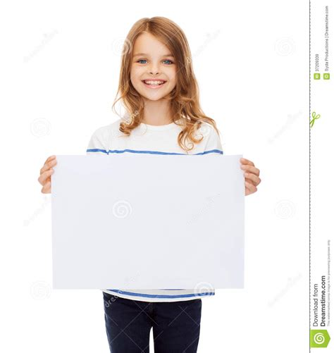 Paper With Children - smiling child holding blank white paper stock image