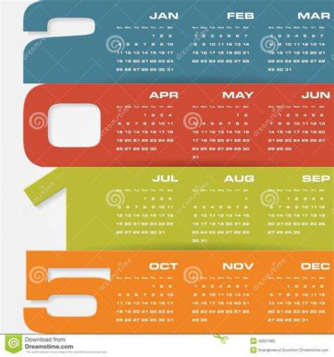 schedule layout graphic design simple editable vector calendar 2015 stock vector image