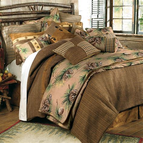 rustic comforter sets queen rustic bedding queen size crestwood pinecone bed set