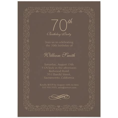 free invitation cards for 70th birthday brown classic 70th birthday invite order now