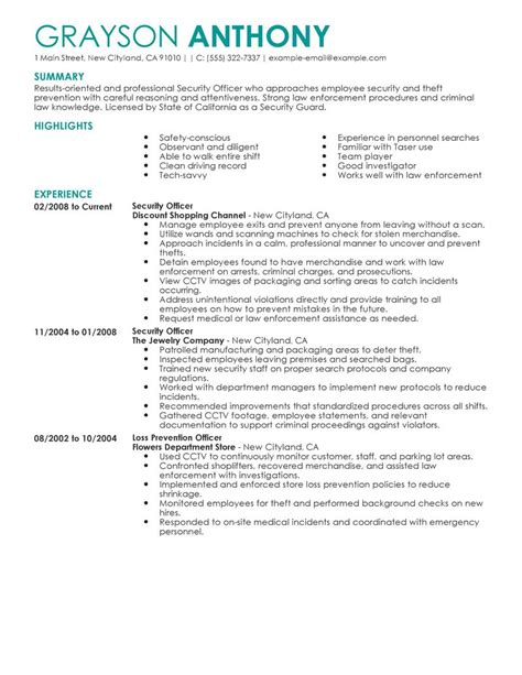 security officer resume template security officers resume exles enforcement