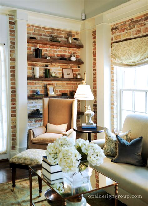 brick wall living room exposed brick walls transitional living room opal design