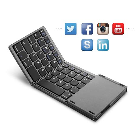 New Mini Foldable Wireless Bluetooth Keyboard Portable Easy Carry tri fold bluetooth plastic keyboard mouse touch pad for samsung surface tablet ebay
