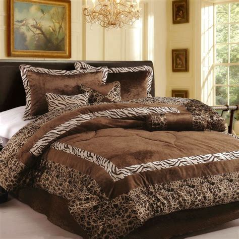 bedding ensembles with curtains 15pc brand new luxury safarina brown coffee queen