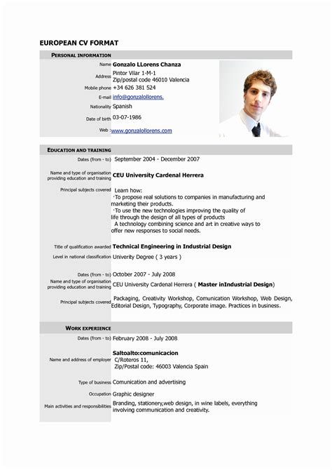 model cv normal download 15 unique normal resume format download resume sle
