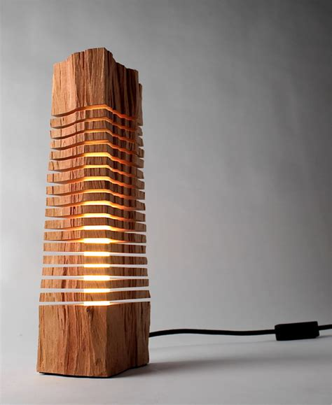 wooden light minimalist split wood lights and sculptures by split grain