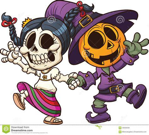 imagenes de calaveras animadas day of the dead and halloween characters stock vector