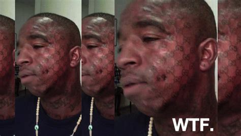 gucci face tattoo gets a gucci on his yin yang the