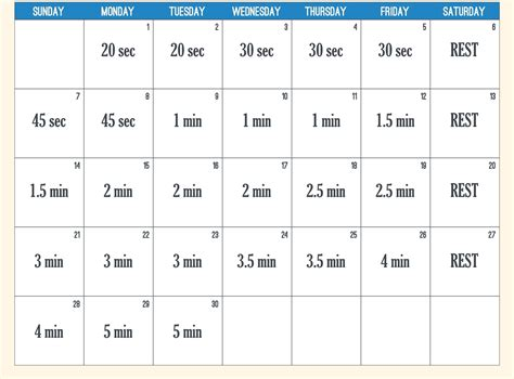 30 day plank challenge new calendar template site